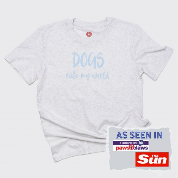 Grey unisex t-shirt with writing in pale blue saying Dogs Rule My World