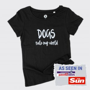 Black t-shirt with dog slogan on front saying Dogs Rule My World