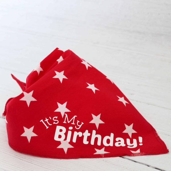 red/white star tie on dog bandana with white text that says it's my birthday