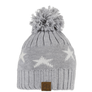 Star Merino Wool Bobble Hat Grey