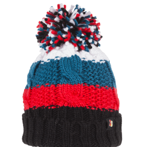 Chunky Cable Knit Wool Bobble Hat Coral