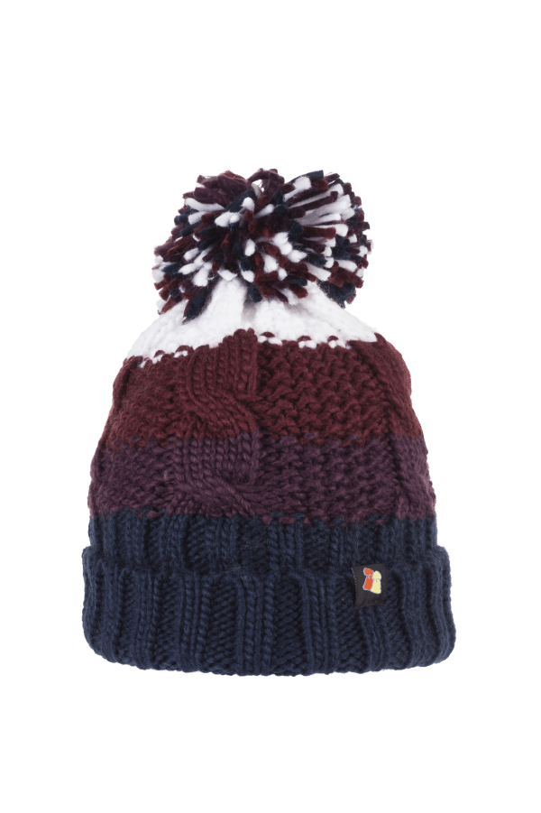 Chunky Cable Knit Wool Hat Burgundy