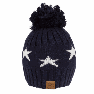 Star Merino Wool Bobble Hat Navy
