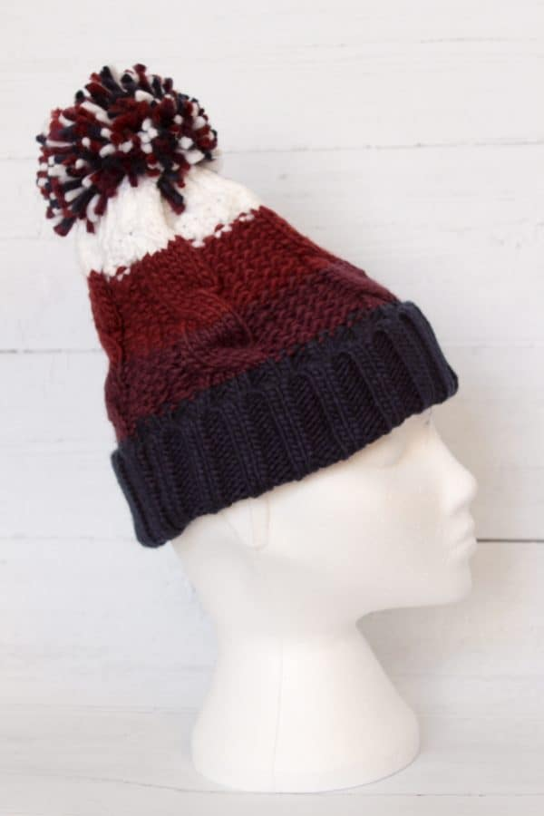 PURPLE CHUNKY BOBBLE HAT