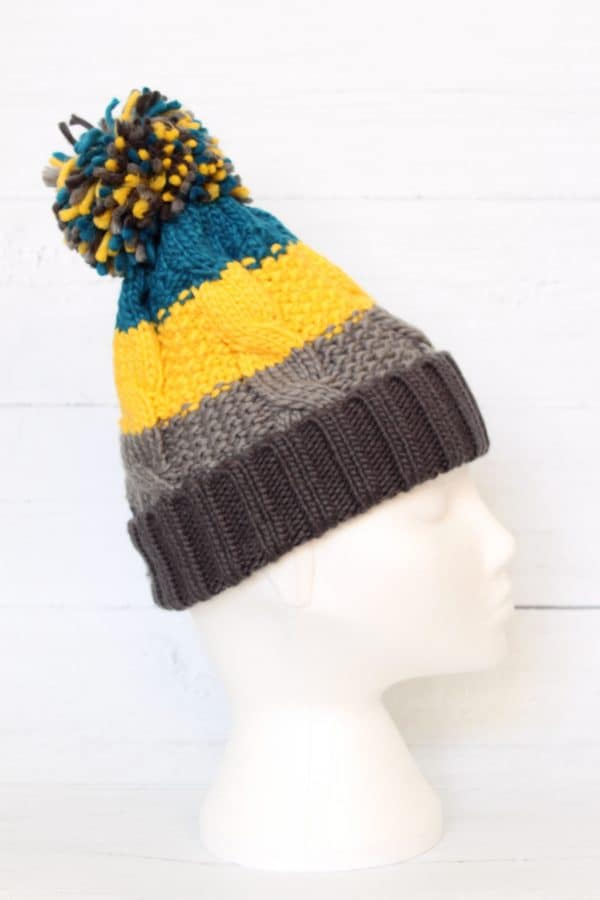 YELLOW CHUNKY BOBBLE HAT1