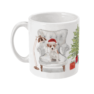 Festive Scruffy Terriers Christmas Dog Mug an illustrated Christmas scene