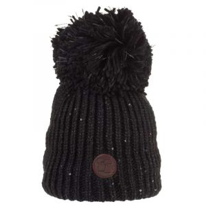 Sequinned Wool Bobble Hat, Black with a sparkle