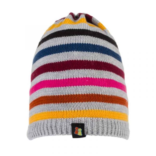 Grey Striped Beanie Hat