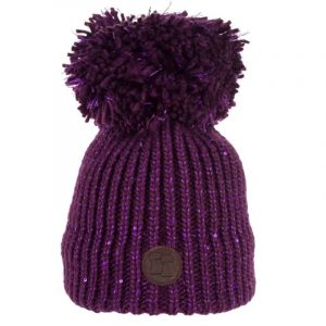 Sequinned Wool Bobble Hat Purple