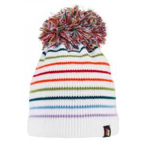 White Stripey Bobble Hat with thin rainbow coloured stripes