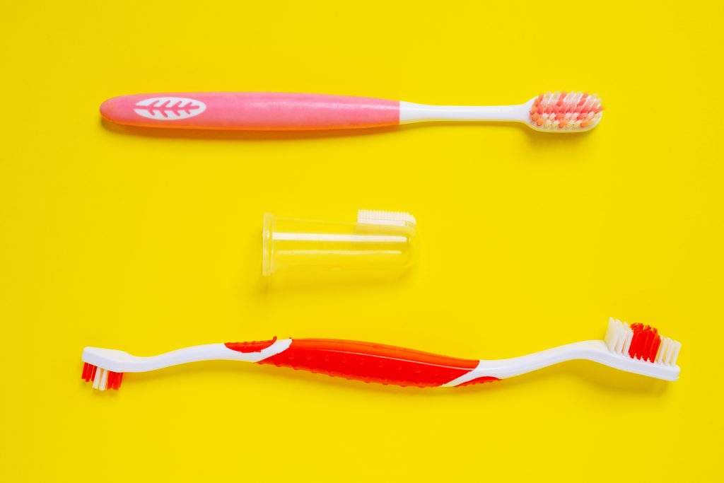 Different kinds of tooth brushes for dogs.