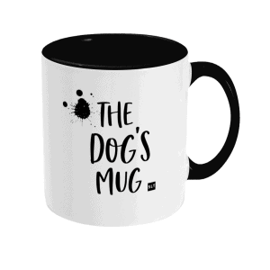 Two Tone Ceramic Mug with slogan saying The Dog's Mug white with black writing, handle and inside mug