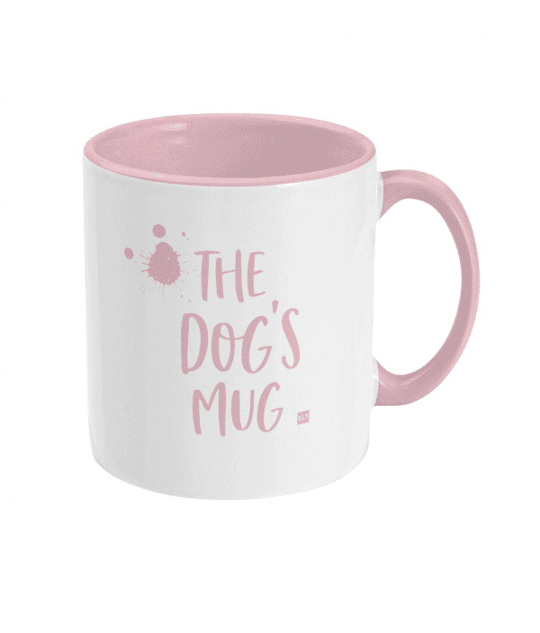 Two Tone Ceramic Mug with slogan saying The Dog's Mug white with pink writing, handle and inside mug