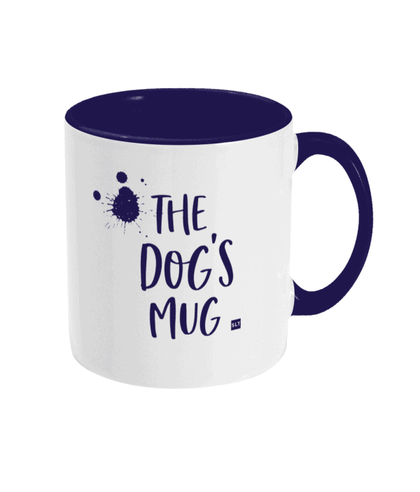 Two Tone Ceramic Mug with slogan saying The Dog's Mug white with blue writing, handle and inside mug