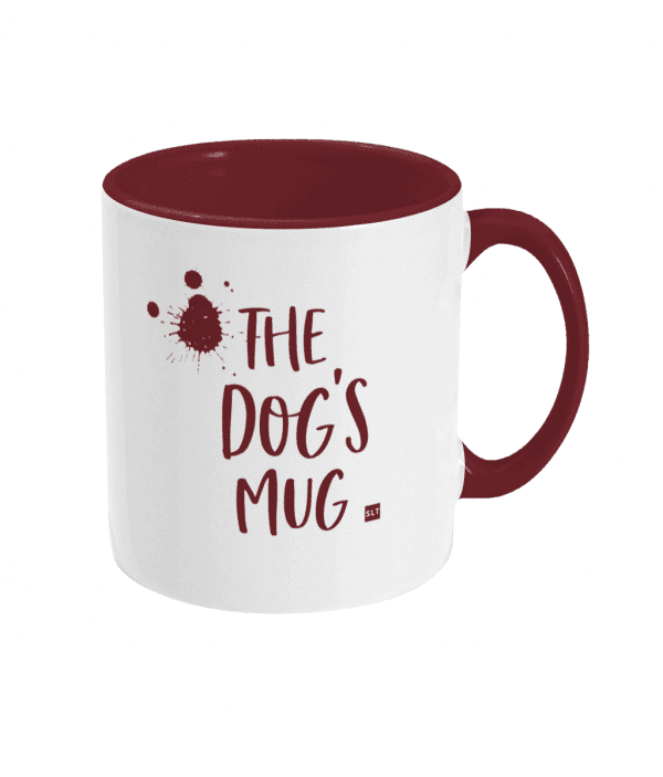 Two Tone Ceramic Mug with slogan saying The Dog's Mug white with red writing, handle and inside mug