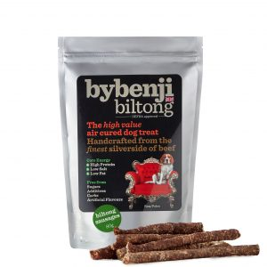 An aluminium packet of bybenjii biltong sausage dog chews