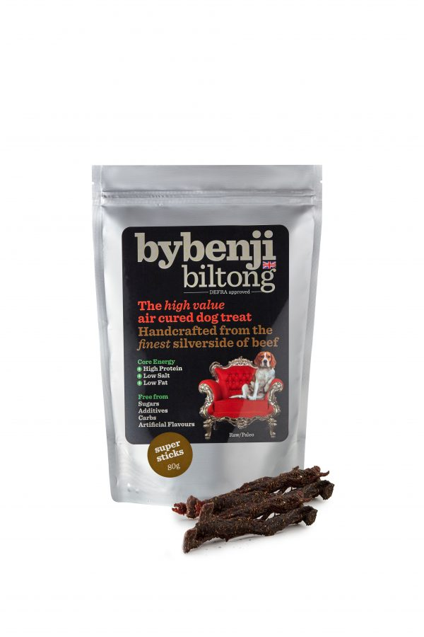 An aluminium packet of bybenjii biltong super sticks dog treats