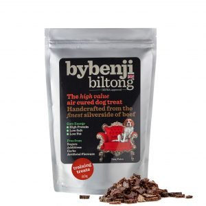 An aluminium packet of bybenjii biltong training dog treats