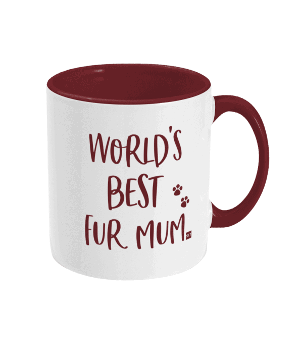 Two Tone Ceramic Mug with slogan saying World's Best Fur Mum white with red writing, handle and inside mug