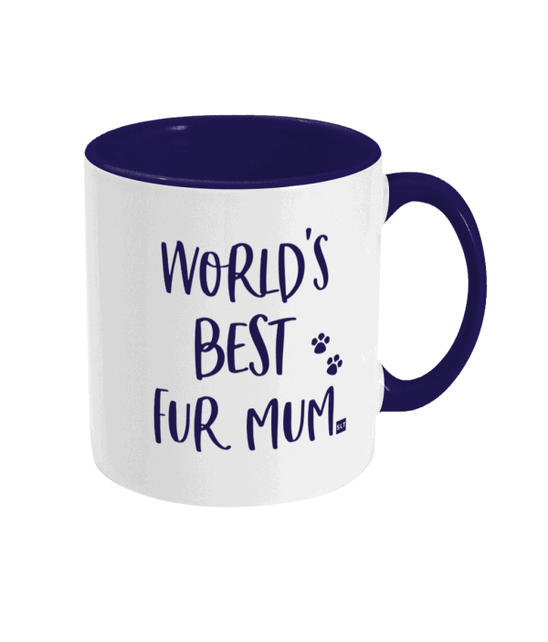 Two Tone Ceramic Mug with slogan saying World's Best Fur Mum white with blue writing, handle and inside mug