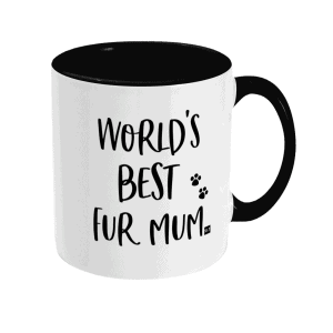 Two Tone Ceramic Mug with slogan saying World's Best Fur Mum white with black writing, handle and inside mug