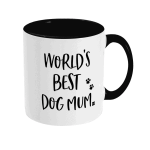 Two Tone Ceramic Mug with slogan saying World's Best Dog Mum white with black writing, handle and inside mug