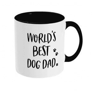 White ceramic mug with black dog slogan text and black inside mug and on handle