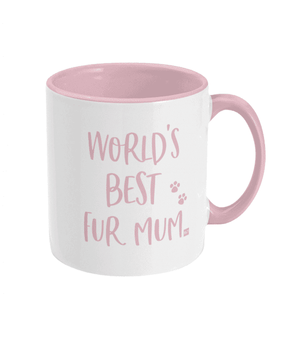 Two Tone Ceramic Mug with slogan saying World's Best Fur Mum white with pink writing, handle and inside mug