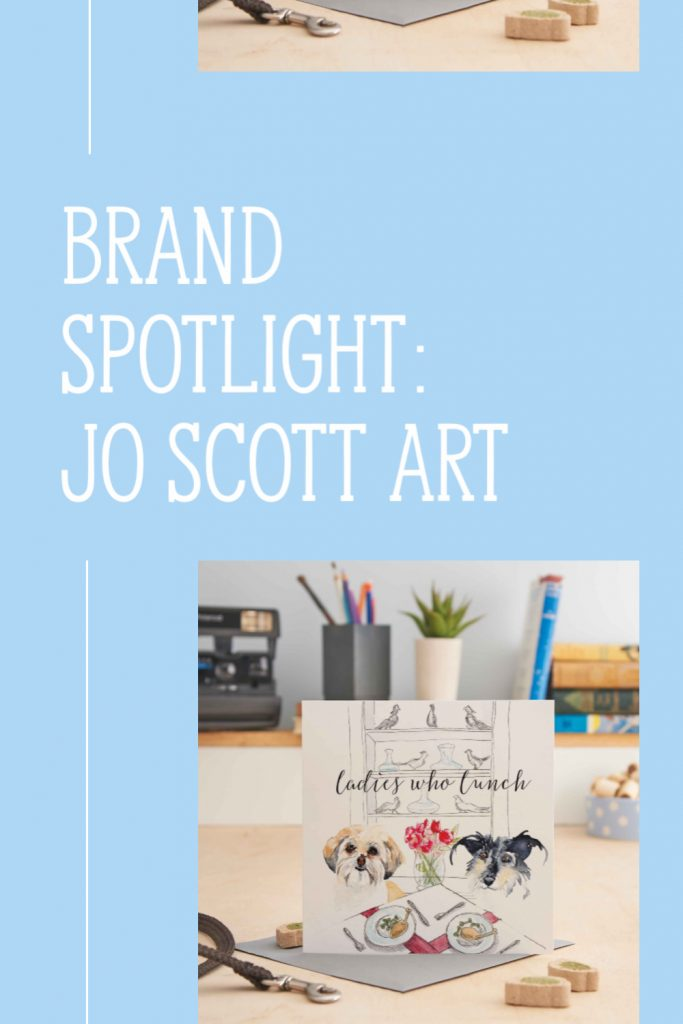 pinterest ready graphic for brand spotlight blog on Jo Scott Art with picture of greeting card