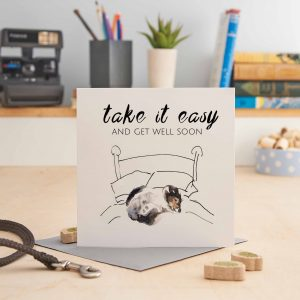 white square greeting card with a picture of a terrier curled up on a bed and text that says 'take it easy and get well soon'