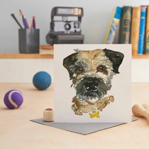 white square greeting card with a painting of a border terrier's head