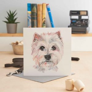 white square greeting card with a painting of a west highland white terrier's head