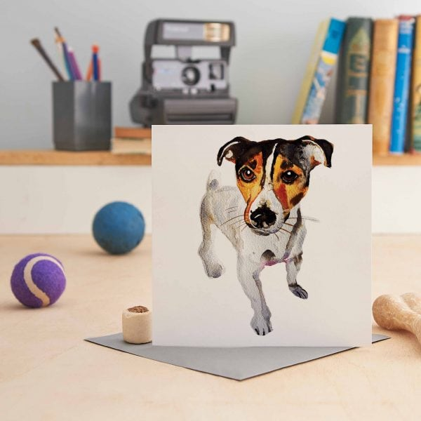 white square greeting card with a painting of a jack russell terrier on