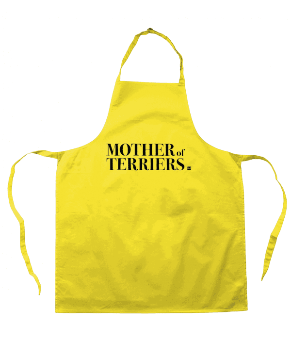 Bright yellow colour cotton apron with slogan 'Mother of Terriers' on the front in black text