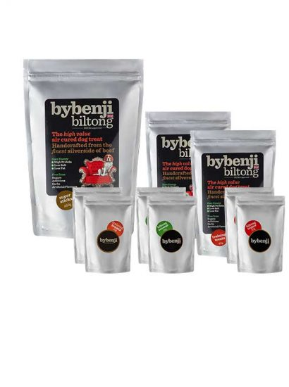 9 packets of bybenji biltong natural dog treats in various sizes