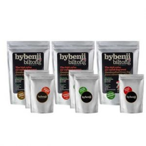 bybenji biltong natural dog treats 3 different varieties in various sizes