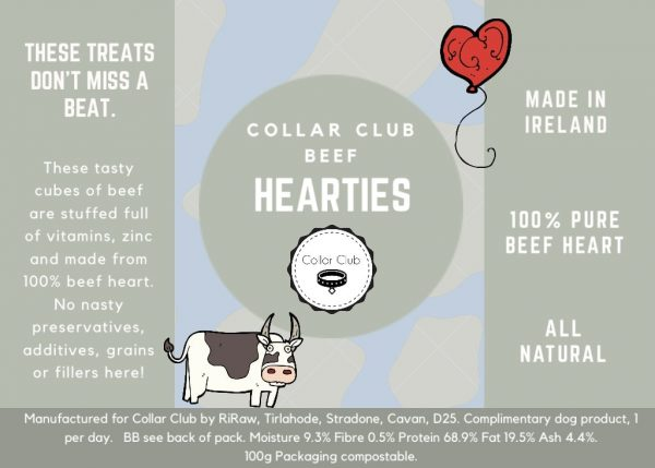 Collar Club Beef Hearties Label with product description