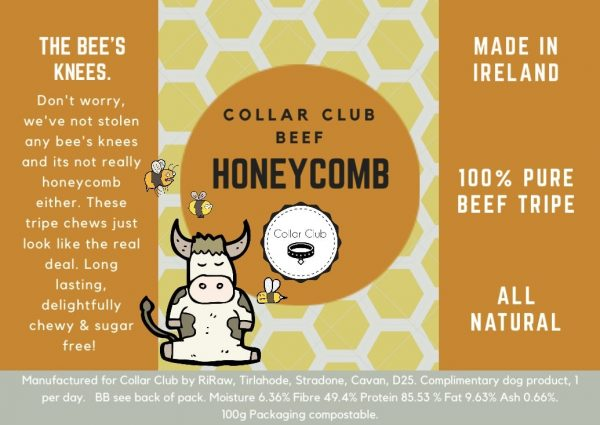 Collar Club product label for Beef Honeycomb Chews for Dogs
