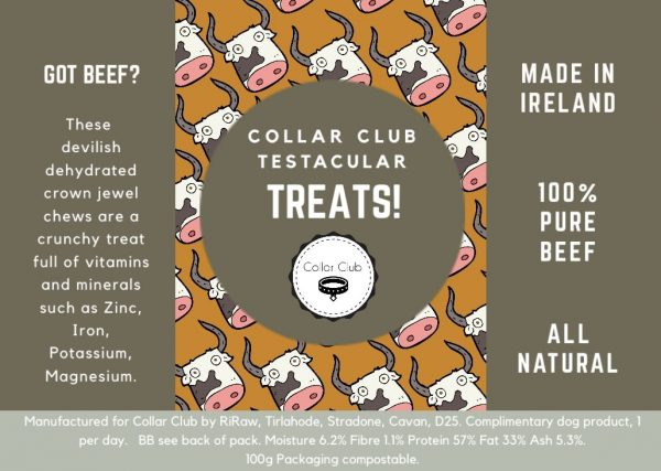 Collar Club Testacular Treats Label with product description