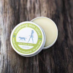 The Dog and I aluminium tin with soothing skin salve inside for dogs