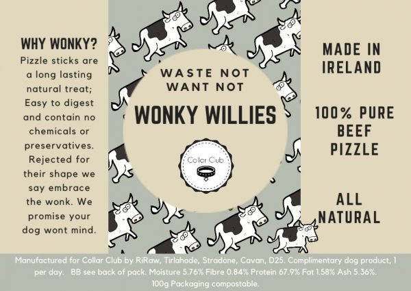 Collar Club Wonkie Willies Label with product description