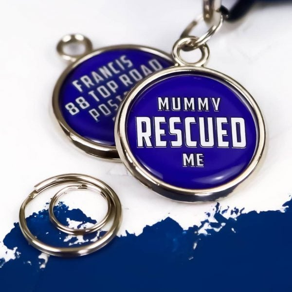 Pawsome Pet Tags Mummy Rescued Me Round Dog Tag
