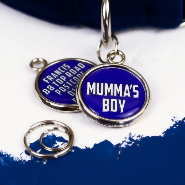Pawsome Pet Tags Mumma's Boy Dog Tag Round Blue with white writing