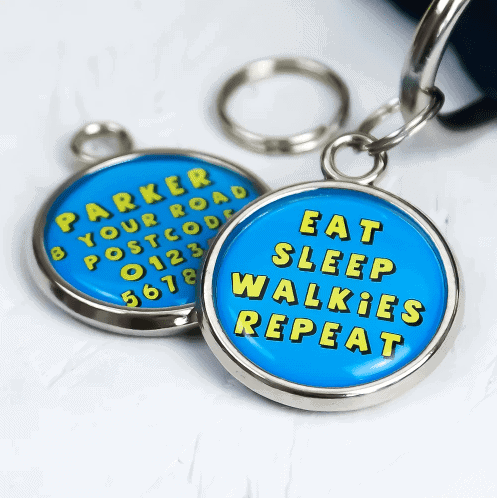 Pawsome Pet Tags Eat Sleep Walkies Repeat Round Dog Tag