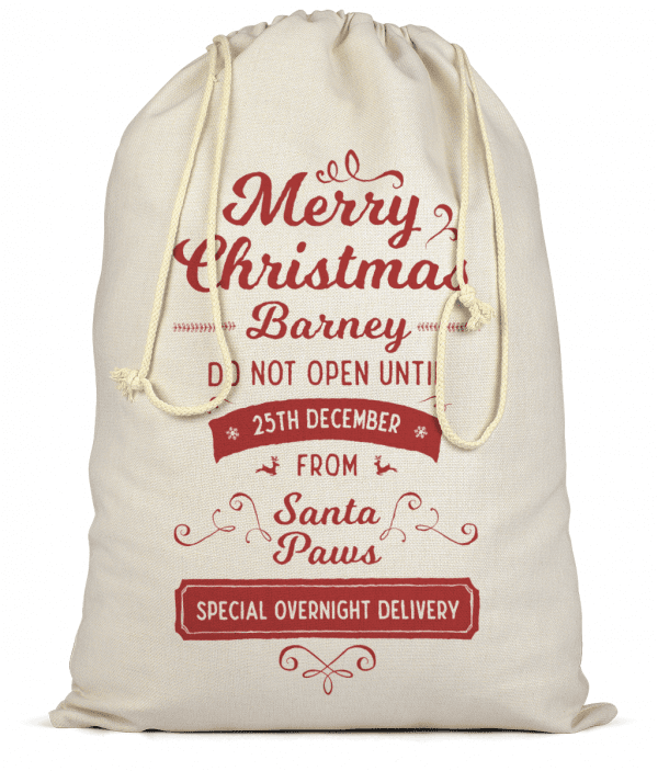 Large Natural Colour Cotton Sack With Festive Red Writing Personalised With Dog's Name