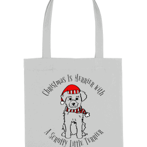 Organic Cotton Grey Tote Bag with Christmas is merrier with a scruffy little terrier motif and dog in Santa hat and scarf