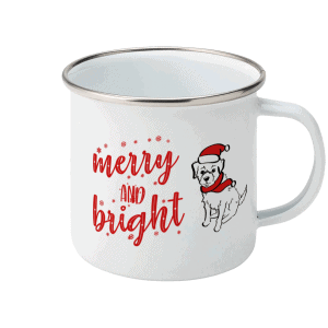 Merry & Bright Christmas Dog Enamel Mug of a scruffy dog in a Santa hat and scarf