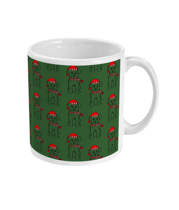 Green Festive Terrier Christmas Mug with repeat pattern of a terrier in a Santa hat and scarf