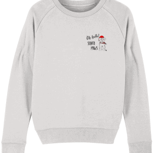 Oh Hello Santa Paws Women's Hoodie in grey with a small chest, pocket motif including a cute dog