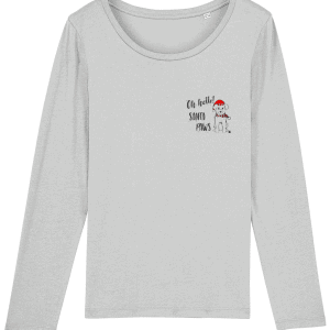 Oh Hello Santa Paws Women's Long Sleeved T-Shirt in grey with a small chest, pocket motif including a cute dog